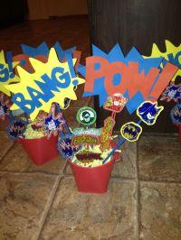 Super hero baby shower Centerpieces | baby shower idea's ...