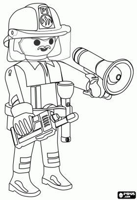 De brandweercommandant van de stad van Playmobil met de