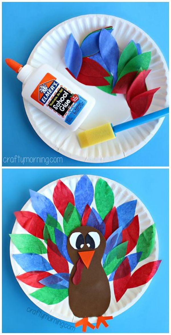 Paper Plate Turkey Craft using Tissue Paper - Easy Thanksgiving craft for kids to make | CraftyMorning.com: