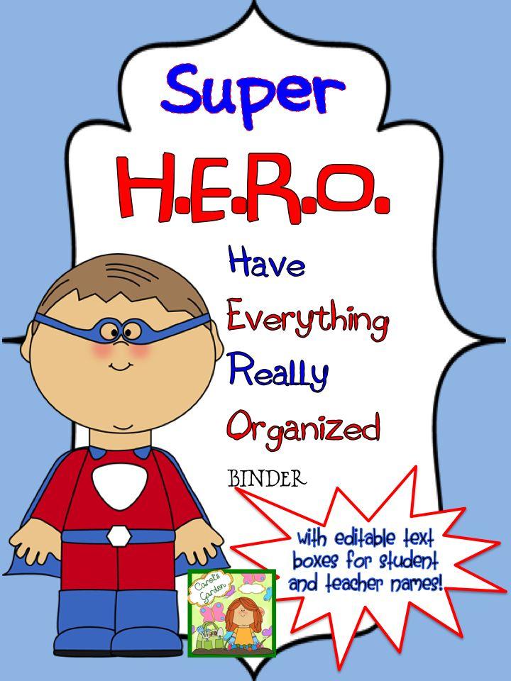 Back To School Superhero Binder Covers With Editable Names