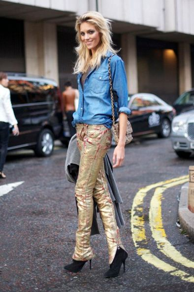 how many people in the world can pull off gold denim?