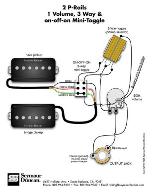 Seymour Duncan PRails wiring diagram  2 PRails, 1 Vol, 3 Way & onoffon Mini Toggle | Tips