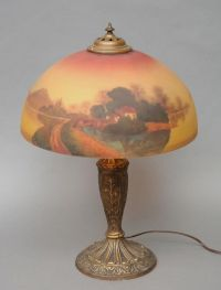 Pittsburgh Reverse Painted Lamp~The base cast with flowers