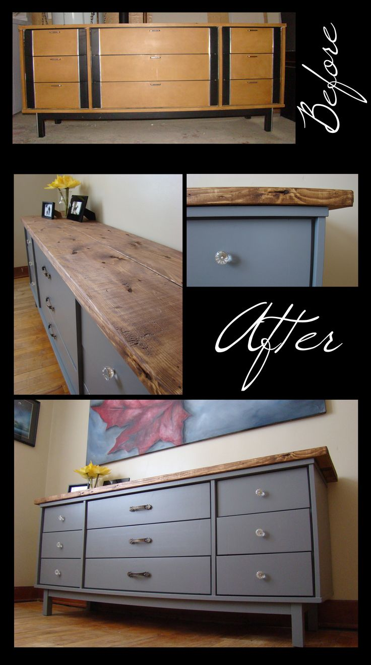 Dresser Before Amp After Distressed Wood Top Grey Paint Glass And Antique Handles For The