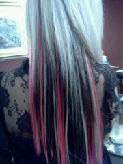 blonde hair with black and pink