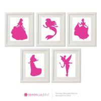 Customizable Disney Princess Silhouette Wall art, Disney