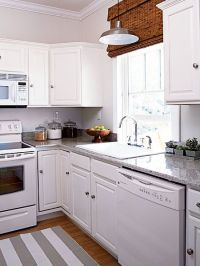 White kitchen appliances disappear against coordinating ...