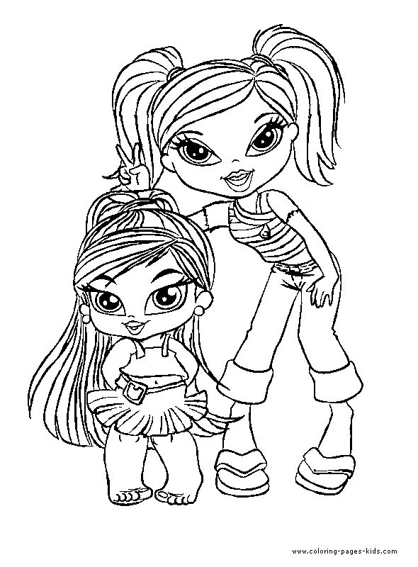 Bratz color page cartoon characters coloring pages, color