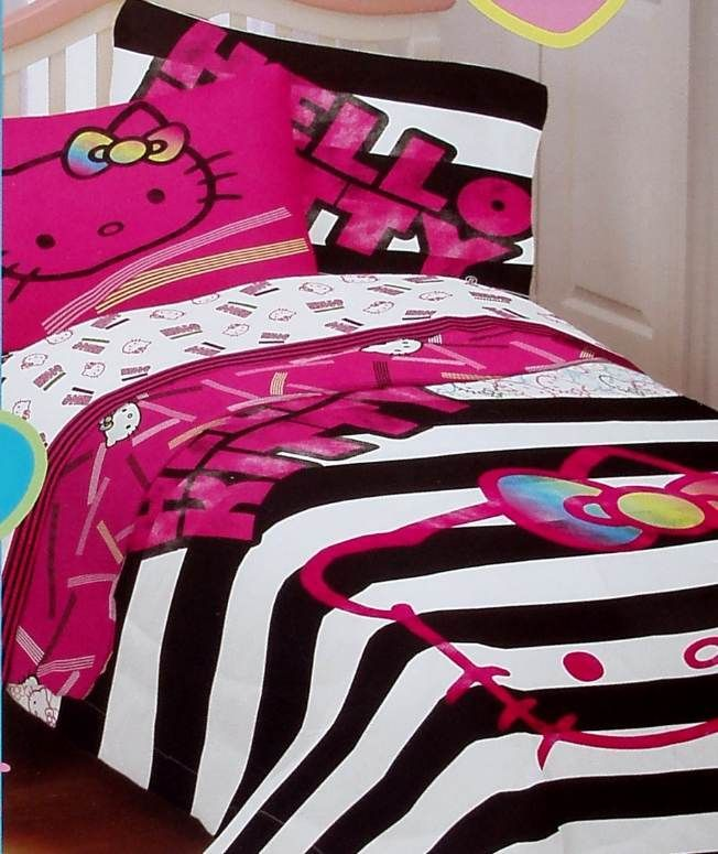 HELLO KITTY NEON PINK BLACK WHITE FULL SIZE COMFORTER SHEETS 5PC BEDDING SET NEW  bedding