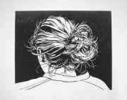 """""""knotje"""" - hair bun linocut offset"""