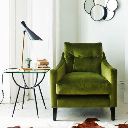 Green Velvet Armchair Ghighis Reading Corner
