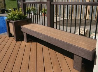 Trex Bench with Planter Box End  Backyard Ideas
