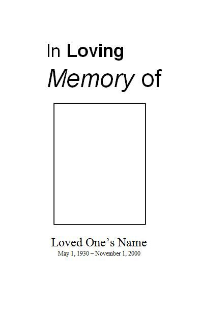 Program template, Funeral and Templates on Pinterest