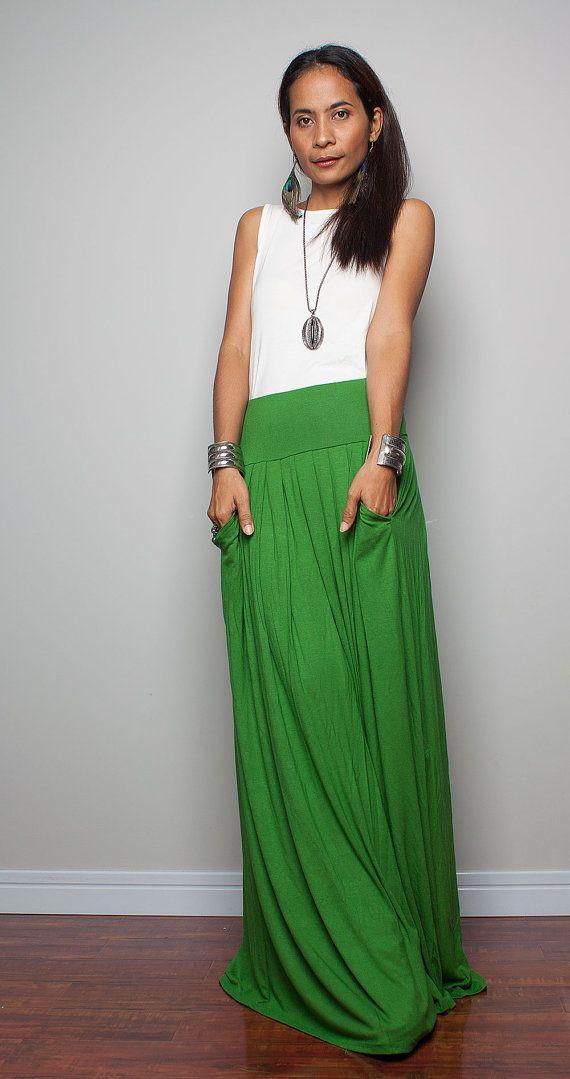 Floor length skirt  Maxi Skirt  Long Soft Green Skirt