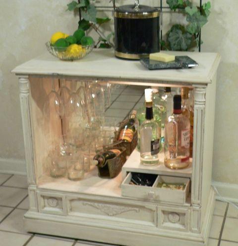 TV cabinet repurposed into a shabby chic liquor cabinet