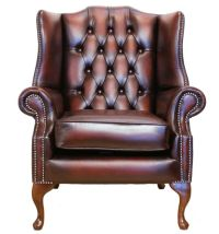 Chesterfield Flat Wing Queen Anne High Back Chair Fireside ...