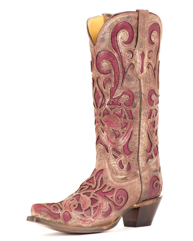 Inlay Corral Purple Boot
