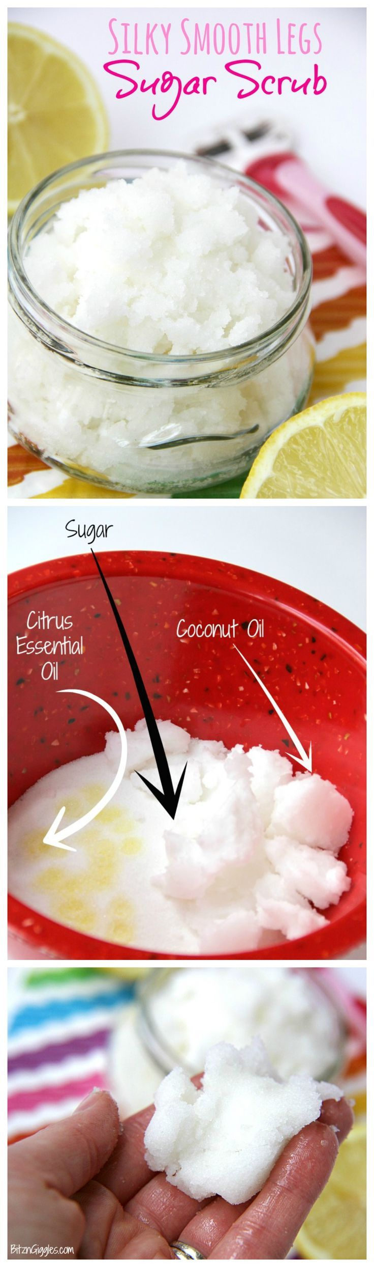 Silky Smooth Legs Sugar Scrub – Apply a small amount of this scrub before shaving for silky, smooth legs year round!
