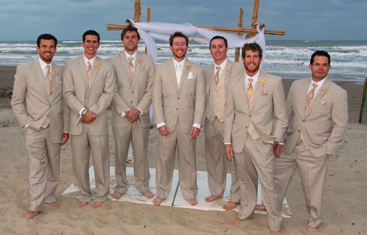 Beach Wedding  Groomsmen They were wearing khaki suits