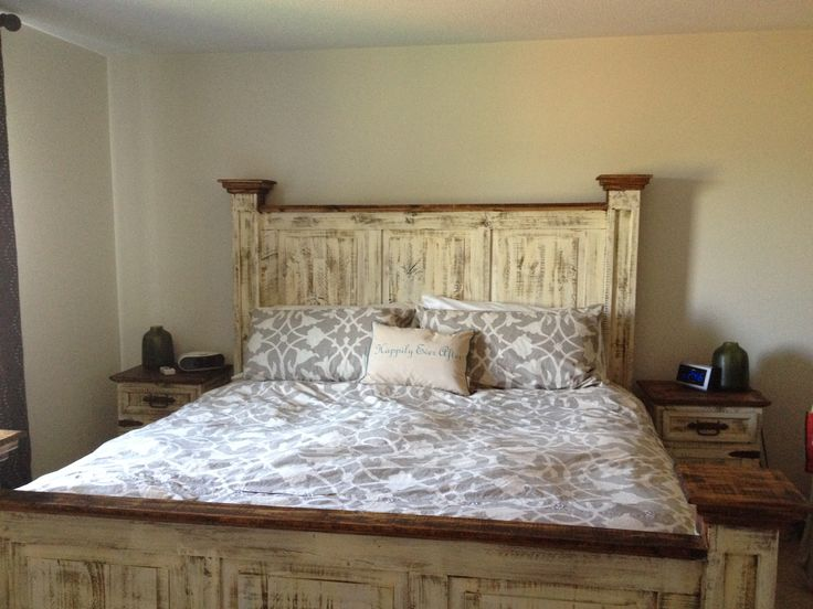 Mexican pine white wash antiqued tall headboard queen bed which can be purchased from www