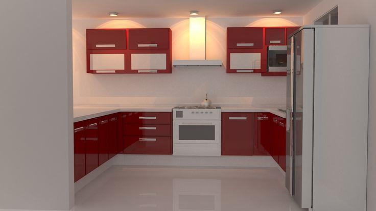 Cocina Integral Color Rojo Decoracin Pinterest