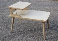 Mid Century Formica Two Tier Table, Danish Modern Blonde ...