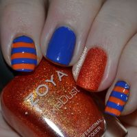Florida Gators; orange and blue, Florida Gator nails; #