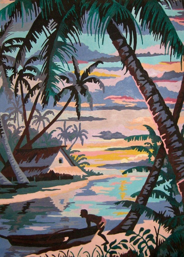 Vintage Paint By Number Paintings  Vintage Tropical