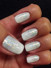 White sparkly glitter shellac gel nails gelish | My ...