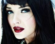 black hair blue eyes red lips