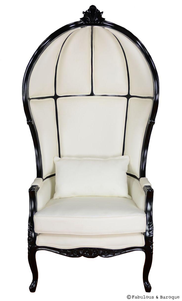 Victoire Balloon Chair  White  Black  Baroque