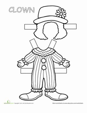 Clowns, Paper dolls and Worksheets on Pinterest