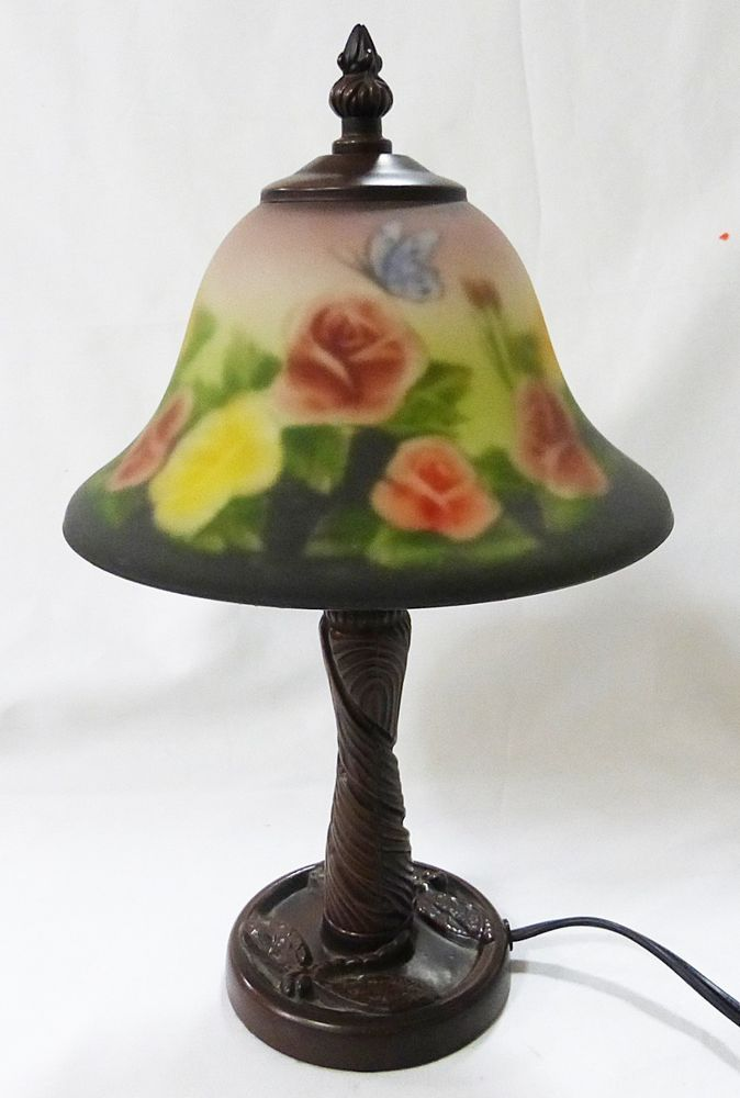 Vintage art deco table lamp with reverse painted frosted