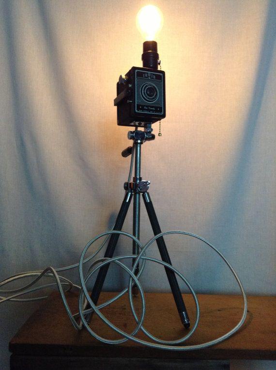 Vintage Camera Chelico Tripod Lamp Photographer Hollywood