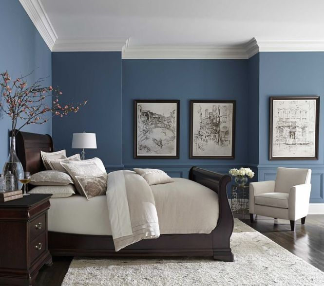 Pretty Blue Color With White Crown Molding Dark Bedroom