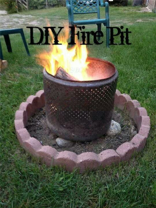Use an old washerdryer drum for a fire pit  Outdoor