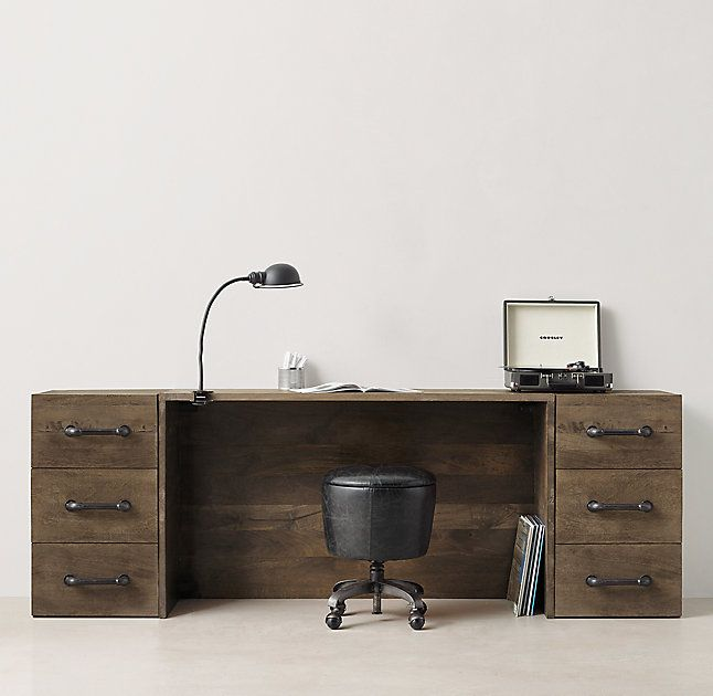 add one more desk on one side for one extra long desk with 2 storage cabinets  Office