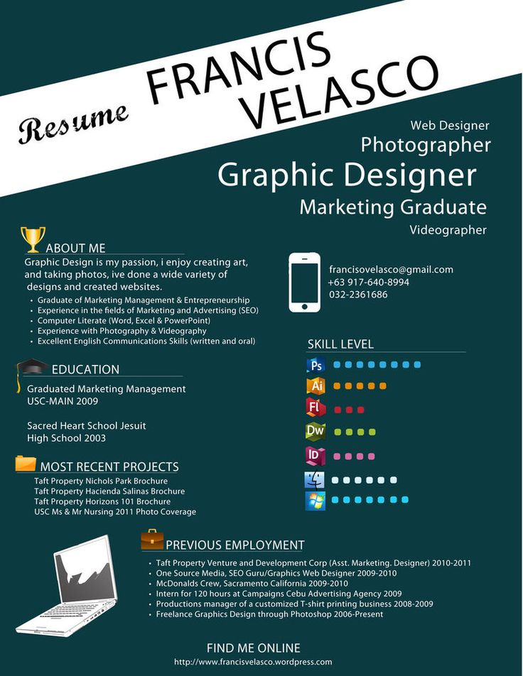 17 Best images about Resumes on Pinterest  Creative Creative resume and Graphic design resume
