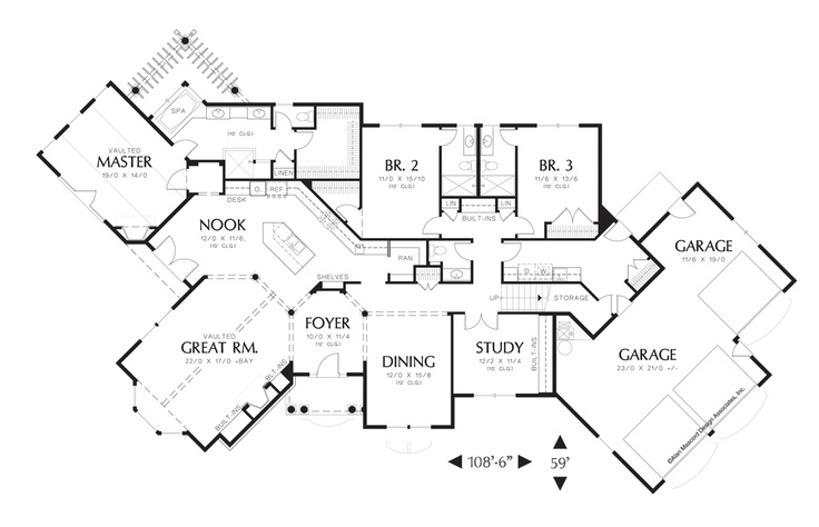 1 story, can angle house for views, Main Floor Plan of