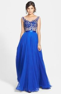 Sherri Hill Cap Sleeve Lace & Chiffon Gown available at # ...