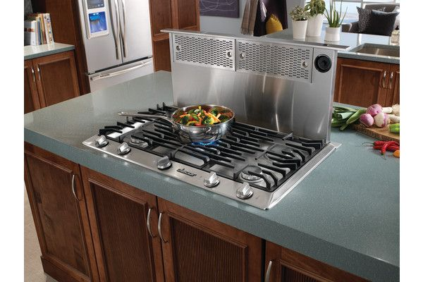 Popup ventilation for gas stoves in kitchen islands