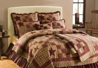 4 PC Primitive Country Rustic Star Patch Queen Full Quilt ...