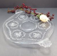 Fostoria Mayflower Handled Cake Plate Glass Vintage 1940s