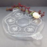 Fostoria Mayflower Handled Cake Plate Glass Vintage 1940s