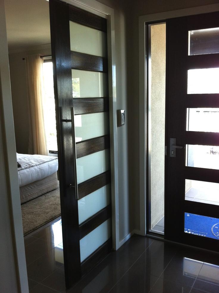 Entrance door with sliding door to master bedroom