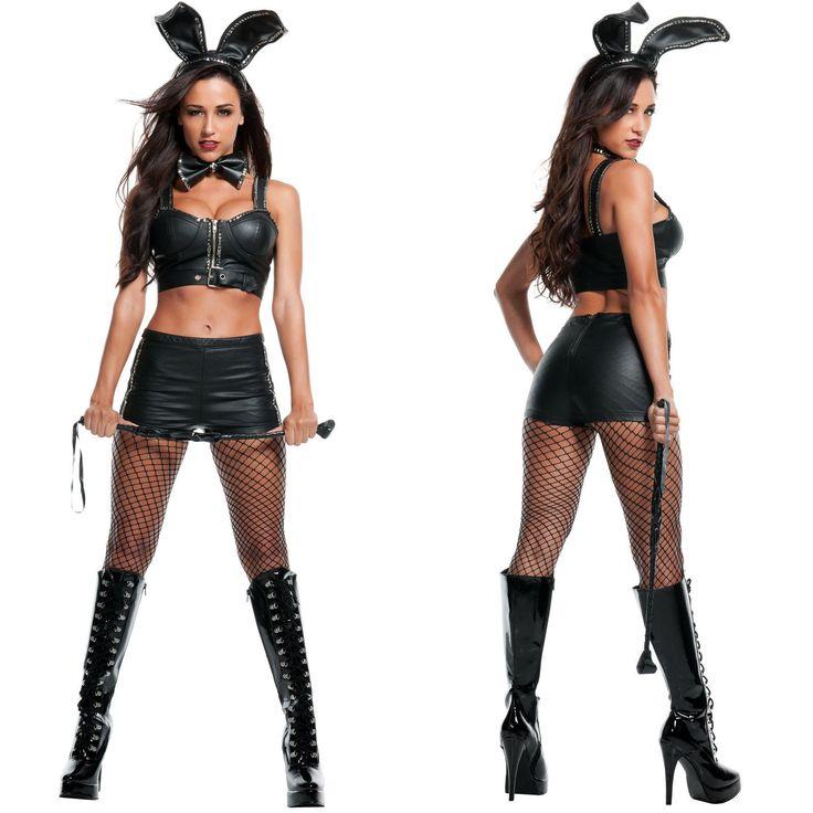 Sexy Womens Adult Black Bondage Playboy Bunny s M