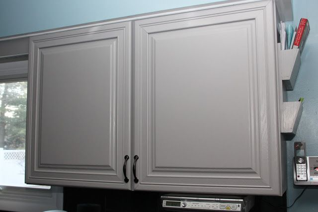 Cabinet in Behr Cathedral Gray the darker sample paint