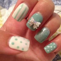 Cute white 3D bow on teal nails. | 3D Nail Art | Pinterest ...