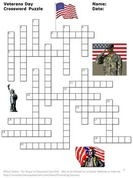 American Veterans Crossword Puzzles And Writing Papers On