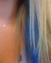 cobalt blue streak in blonde hair-lovely